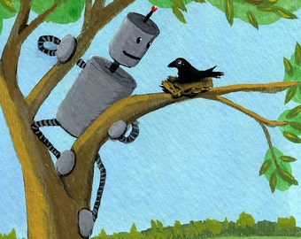 Robot with Baby Crow