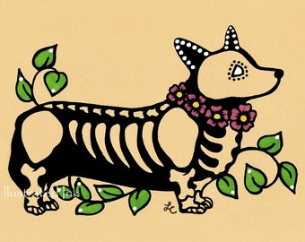 Day of the Dead CORGI Dog Dia de los Muertos Art Print 5 x 7, 8 x 10 or 11 x 14 - Choose your own words - Donation to Austin Pets Alive