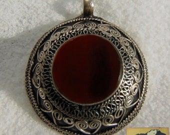 Afghanistan, Vintage Pashtun Sterling Silver Medallion Pendant, Carnelian, Item JE1