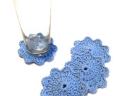 Light Blue Crocheted Coasters-Set Of Four