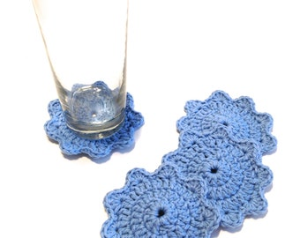 Set Of Four Light Blue Crocheted Coasters