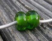 Green Pair, Euro Lampwork Beads, Simply Lampwork by Nancy Gant SRA G55