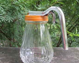 Vintage Syrup Pitcher - Glass Plastic Metal - 1950s
