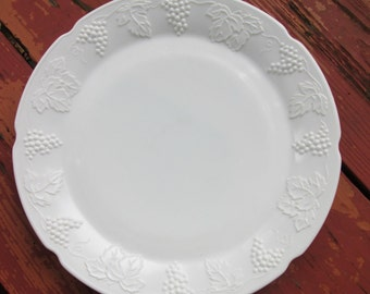 Large Vintage Milk Glass Serving Plate - Colony Harvest From Lancaster Colony- Wedding