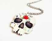 Sugar Skull Orange Rose Day of the Dead Necklace