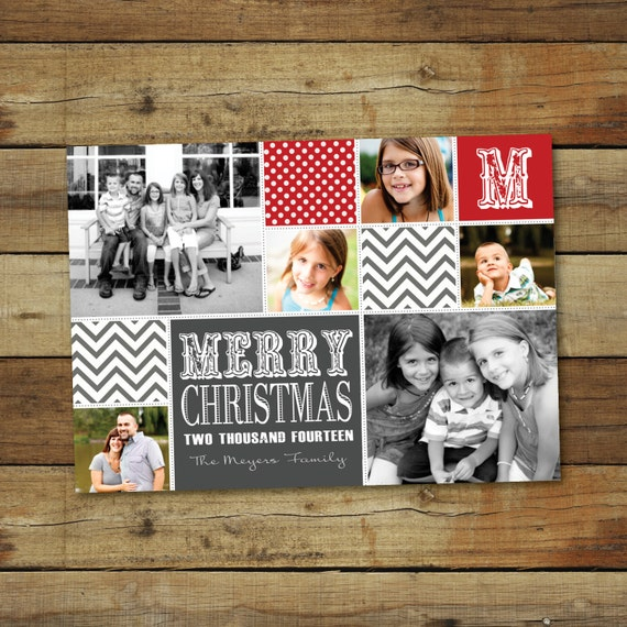 Items Similar To Christmas Card Photo Collage In Red And
