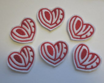 Love Heart Style 2 White with Red Embroidered Valentine Heart