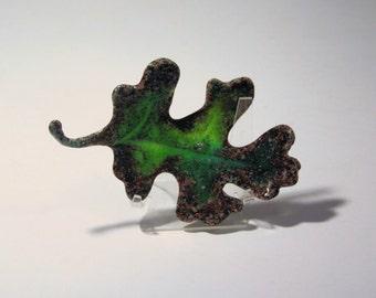kiln cast glass oak leaf
