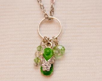 Flip Flop charm necklace, flip flop jewelry, summer necklace, cute necklace for summer, beach jewelry, hippie chic, free spirit jewelry