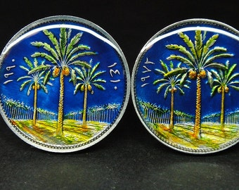 Iraq coin cufflinks date palms 20mm or  22mm