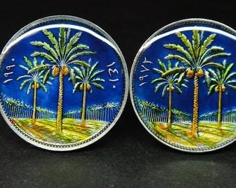 Iraq coin cufflinks date palms 20mm or  22mm