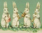 ART SILK panel - Rabbit Orchestra in field of Clover Fiber arts embellish Crazy Quilt Fabric Collage Applique Craft