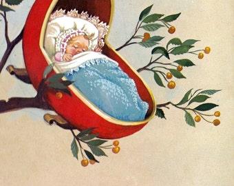 Art Print on SILK - Rock a bye baby in cradle - Embellish Embroider Collage Fiber Arts Crazy Quilt applique