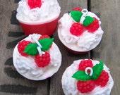Raspberry Soap, Berry Soap, Summer, Soap Favor, Red,  Handmade Soap, Shower Favor, Birthday Gift, Hostess Gift, Shea Butter, Wedding Favor