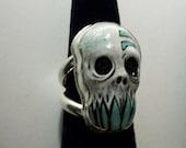Turquoise Teeth Skull Zombie Head Ring