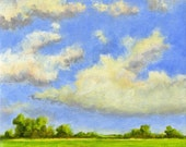 Summer Days - Original Landscape Painting on canvas 8x8 Clouds and Sky Farmland Countryside