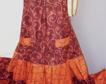 Gathered Tiers and Shoulder Ties Maxi Dress with Pockets in Browns size Large to Plus
