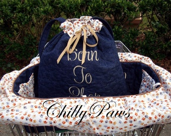 Shopping Cart Cover for Dogs - Quilted Denim - Customize the Skirt Color and Pattern - tote