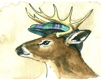 Deer in Old Sutherland Plaid Hat  5x7 print