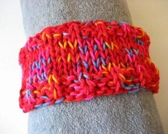 Hand Knit Headband, Red Yellow Pink Blue, Vegan Friendly Yarn, Dreadband Hairband Tube Hat Ear Warmer Dread Wrap Sweatband Dreadlock