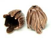 Large Leaf End Caps Pair - Oxidized Copper Plated