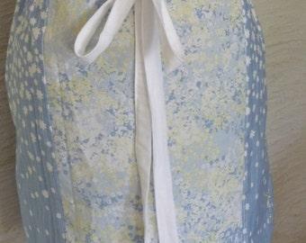 Blue Skirt, Pastel Colors, Handmade Skirt, Spring Summer Skirt, Drawstring Waist, Recycled Fabrics, Pretty Skirt,Yellow White Flowers,Unique