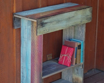 Distressed Console Table Salvaged Wood Farm House Table Reclaimed Wall Table 30x12x34 Entry Table Farmhouse Table Red Blue Yellow Stained