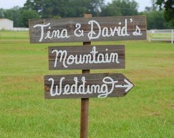 Rustic Mountain Wedding Signs YOUR WORDS with Arrows Romantic Outdoor Reception Ceremony Dancing Cursive Old Wood Barnwood Farmhouse Yard