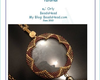 Magnifying glass or any round pendant wrapping with beadwork - step-by-step pdf tutorial