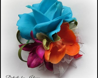Vibrant Real Touch Flower Tropical Wrist Corsage