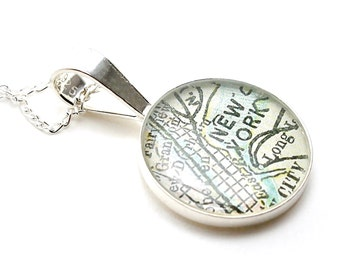 CUSTOM Antique Map Sterling Silver Round Necklace - You Select City