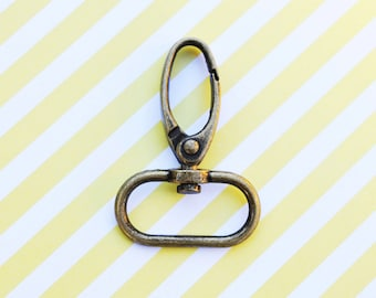 FREE SHIPPING--20 Anti Brass Swivel Clasps Hooks with 1 inch loop end