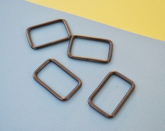 FREE SHIPPING--20 of 1 1/4 inches Non-Welded Gunmetal/Black Nickel Rectangle Rings