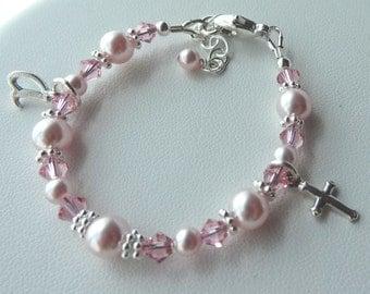 Pink Pearl Baptism Bracelet , Confirmation,First Communion, Flower Girls Bracelet, Initial Personalized Cross Bracelet, Cross Bracelet