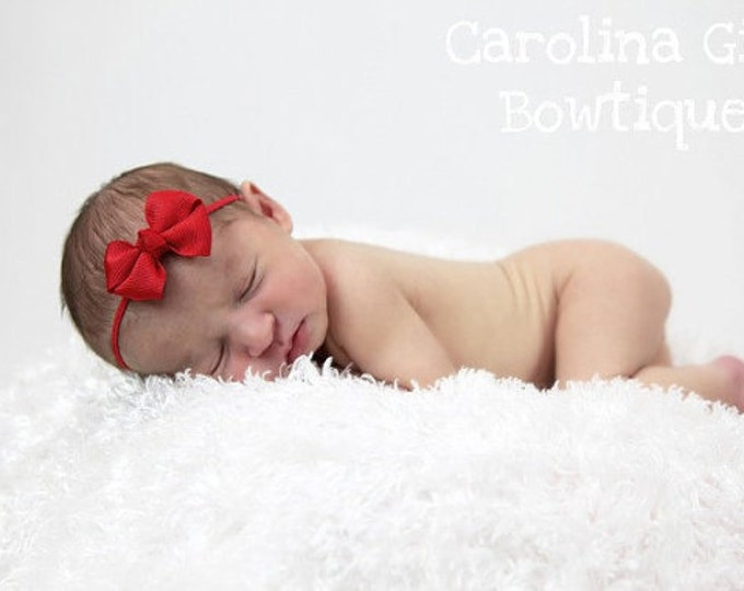 Red Newborn Headband - 2 in. Bitty Bow on an Elastic Headband - Girls Hair Bows - Baby Headband