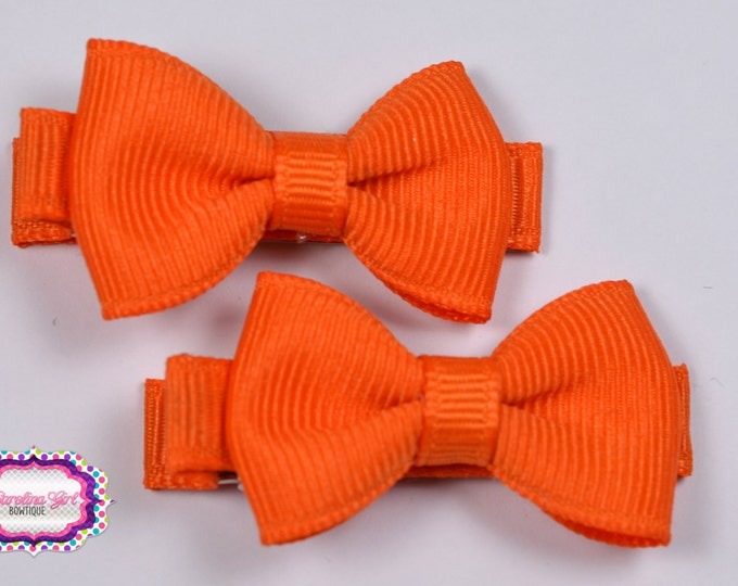 Orange Hair Bow Set of 2 Small Hairbows - Girls Hair Bows - Clippies - Baby Hair Bows