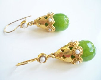 Majestic Green  Jade earring