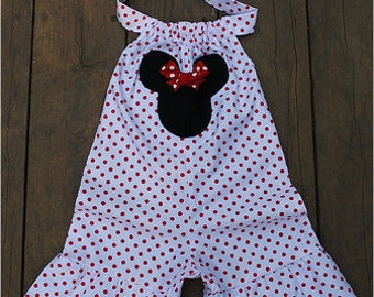 Custom Boutique Clothing White Red Dot Minnie Mouse Shortall Outfit