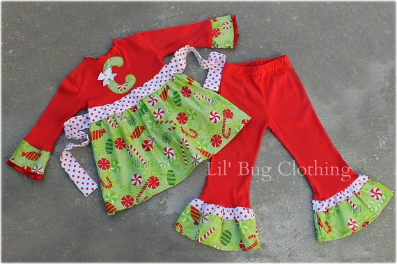 Custom Boutique Christmas Candy Cane Top and Pant Set Girl Pageant Holiday