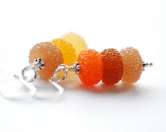 Autumn Earrings, Orange, Yellow and Brown Earrings, Candy Earrings, Dangle Earrings, Acrylic Jewelry, Sparkly Earrings - Sugar Plums