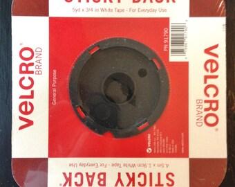 """White Velcro Sticky Back Tape 5 Yards x 3/4"""" PN 91790"""