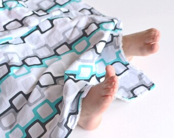 Baby Boy Blanket Turquoise Chainlinks, You Choose Size Security Blanket with Minky for Baby Boy Toddler Boy