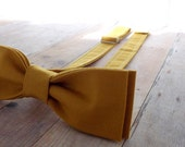Skinny Mens Bow Tie - Pretied - Adult - Boys - Baby - Toddler - Formal Bowtie - Casual - Wedding - Ochre - Mustard - Gold - Yellow Cotton