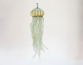 Green Jellyfish Ornament, Sea urchin Jellyfish Ornament, Nautical Home Decor