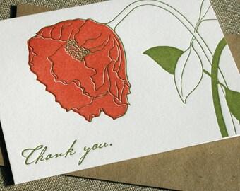 Thank You Notes, Poppy, Letterpress