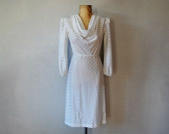 vintage 1970s SHEER white cowl neck office dress