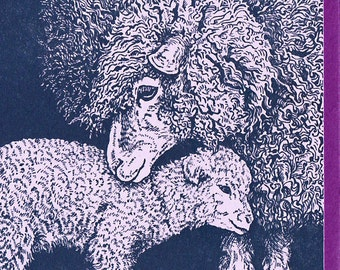 Lavender Ewe and Lamb Card