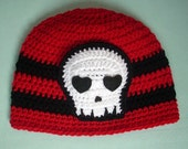 Skull beanie HAT red black stripe Ready To Ship