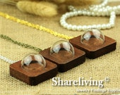 1 Sets 38mm Clear Glass Globe  Square Wooden Pendant Necklace