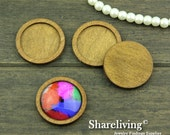 6pcs 25mm Round Antique Wooden Cameo Setting / Tray HW712A